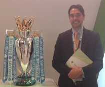 Elliott King with Premiership Football Trophy, GITEX Dubai, 2013